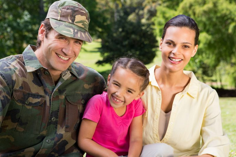 Veteran soldier with family